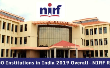 Top 100 Institutions in India 2019 Overall- NIRF Ranking